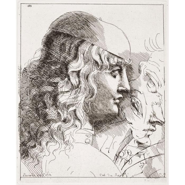Tête de jeune homme vu de profil, la tête couverte d'une calotte et les cheveux longs - Une estampe d'après Léonard de Vinci