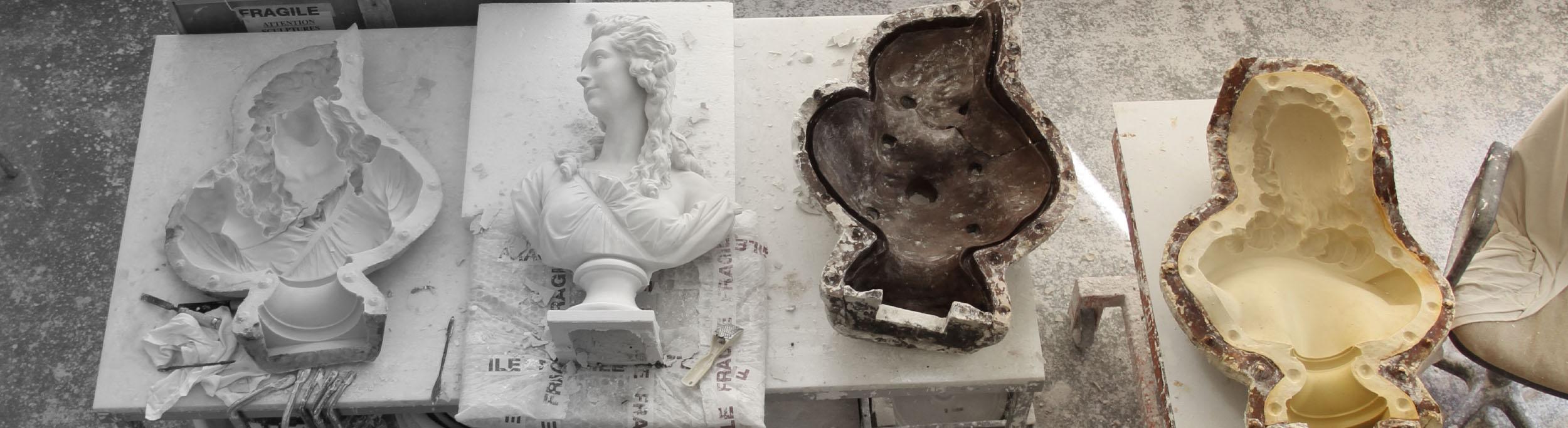 De la fabrication d'un moule en silicone au tirage d'un moulage en résine, plâtre ou bronze - Atelier de moulages du Louvre