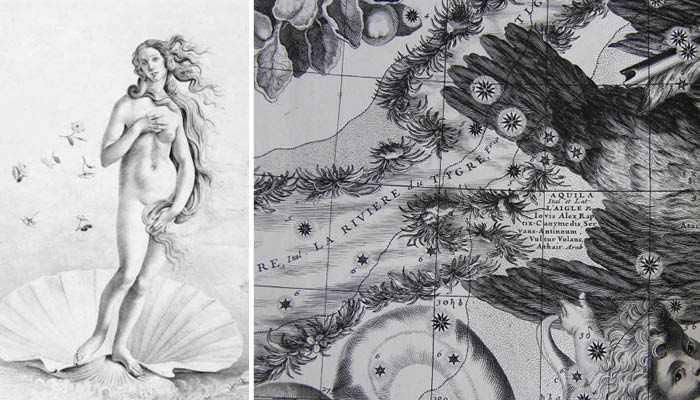 Naissance de Vénus à gauche Planche du globe céleste de Coronelli